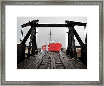 Uscgc Mackinaw Framed By Railroad Elevator Framed Print by Keith Stokes