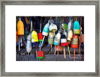 Used Lobster Trap Buoys Framed Print by Olivier Le Queinec