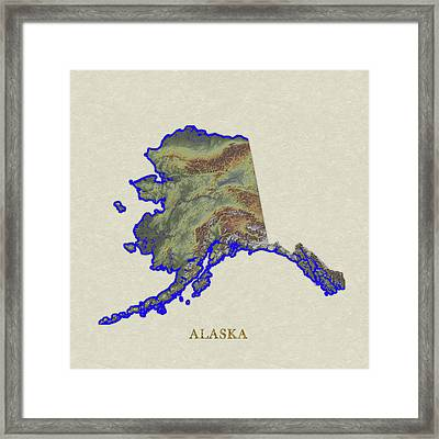 Usgs Map Of Alaska Framed Print by Elaine Plesser