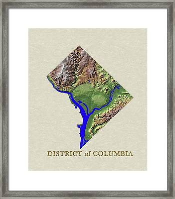 Usgs Map Of District Of Columbia Framed Print by Elaine Plesser