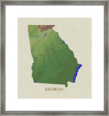 Usgs Map Of Georgia Framed Print by Elaine Plesser