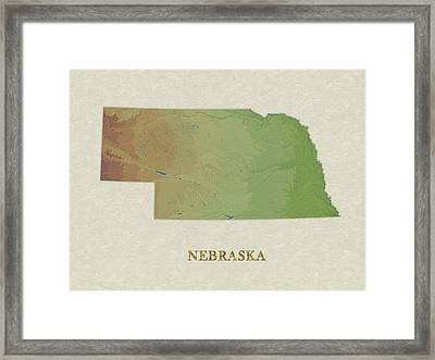Usgs Map Of Nebraska Framed Print by Elaine Plesser