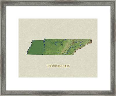 Usgs Map Of Tennessee Framed Print by Elaine Plesser
