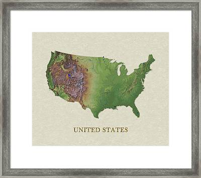 Usgs Map Of United States Framed Print by Elaine Plesser