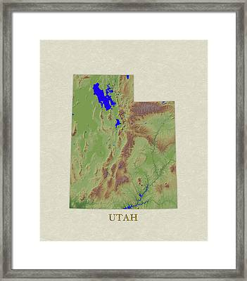 Usgs Map Of Utah Framed Print by Elaine Plesser