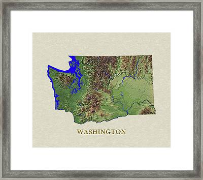 Usgs Map Of Washington Framed Print by Elaine Plesser
