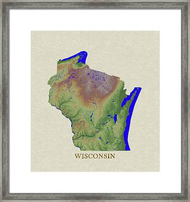 Usgs Map Of Wisconsin Framed Print by Elaine Plesser