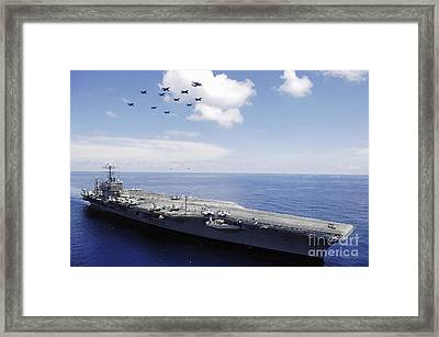 Uss Abraham Lincoln And Aircraft Framed Print