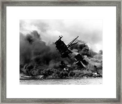 Uss Arizona Burning In Pearl Harbor Poster Framed Print