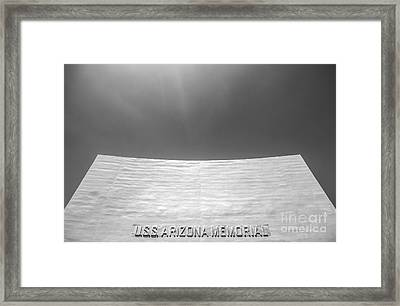 Uss Arizona Memorial In Black And White Framed Print by Diane Diederich