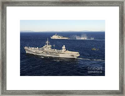 Uss Blue Ridge Conducts Flight Framed Print by Stocktrek Images