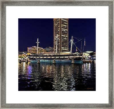 Uss Constellation - At Night Framed Print by Brian Wallace