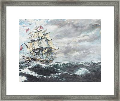 Uss Constitution Heads For Hm Frigate Guerriere Framed Print by Vincent Alexander Booth
