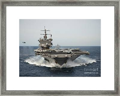 Uss Enterprise Transits The Atlantic Framed Print by Stocktrek Images
