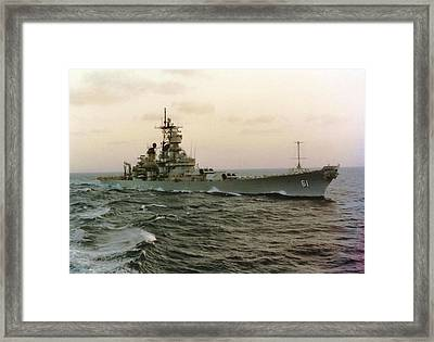 Uss Iowa At Sea In The Indian Ocean Framed Print