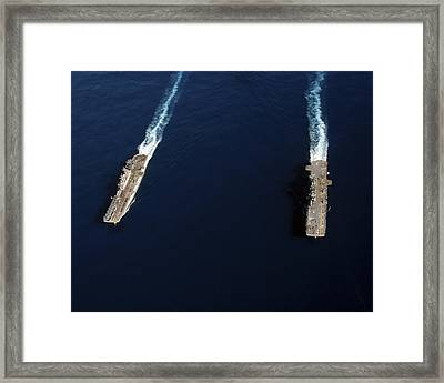 Uss Iwo Jima Steams Alongside Uss Framed Print by Stocktrek Images