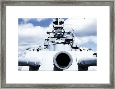 Uss Massachussetts - 16 Inch Gun Framed Print