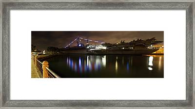 Framed Print featuring the photograph Uss Midway At Night by Nathan Rupert