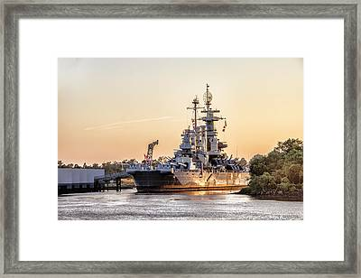 Uss North Carolina Sunset Framed Print