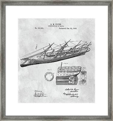 Uss Pocahontas Ship Illustration Framed Print