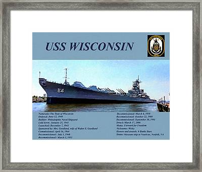 Uss Wisconsin Landscape Art Painting Framed Print by Andres Ramos