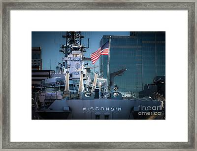 Uss Wisconsin With American Flag Framed Print by Robert Anastasi