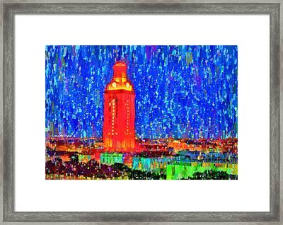 Ut Austin Tower - Da Framed Print