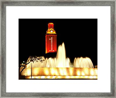 Ut Tower Championship Win Framed Print by Marilyn Hunt