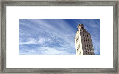 Ut Tower Clouds Framed Print
