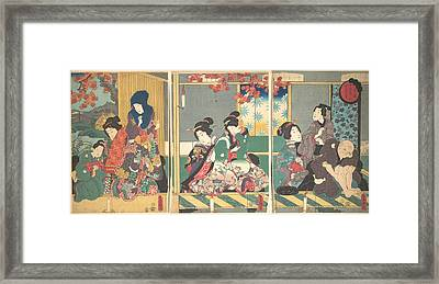 Utagawa Kunisada      Banquet Of The Next Full Moon At The Chrysanthemum Festival From The Series The Twelve Month Framed Print