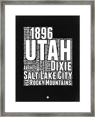 Utah Black And White Word Cloud Map Framed Print by Naxart Studio