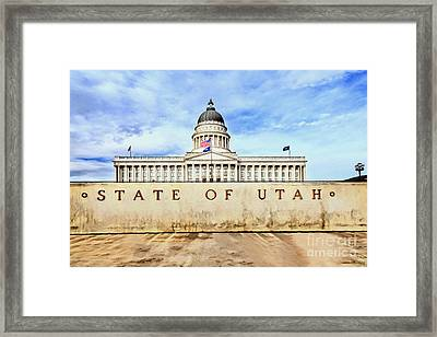 Utah Capitol Framed Print by David Millenheft