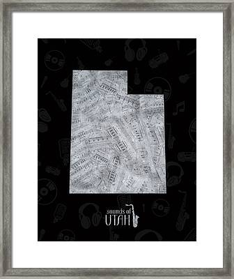 Utah Map Music Notes 2 Framed Print