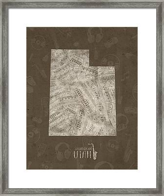 Utah Map Music Notes 3 Framed Print