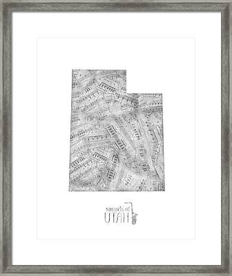 Utah Map Music Notes Framed Print