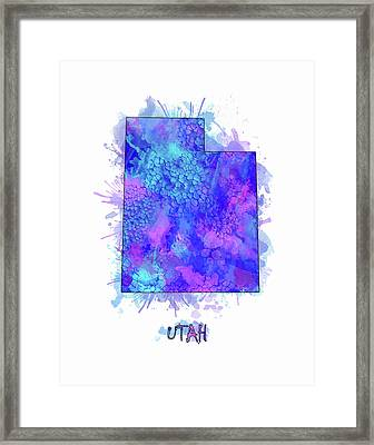 Utah Map Watercolor 2 Framed Print