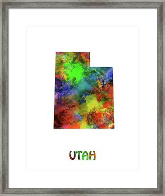 Utah Map Watercolor Framed Print