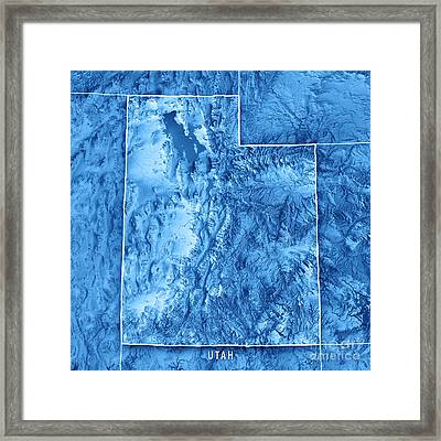 Utah State Usa 3d Render Topographic Map Blue Border Framed Print