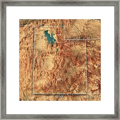Utah State Usa 3d Render Topographic Map Border Framed Print