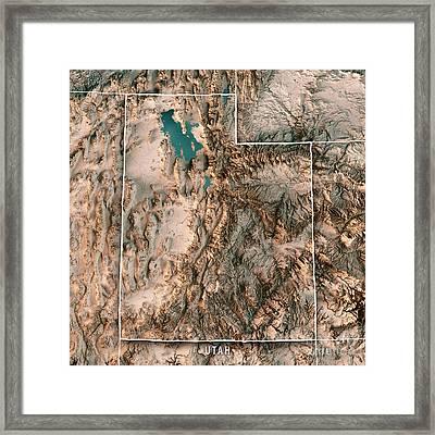Utah State Usa 3d Render Topographic Map Neutral Border Framed Print