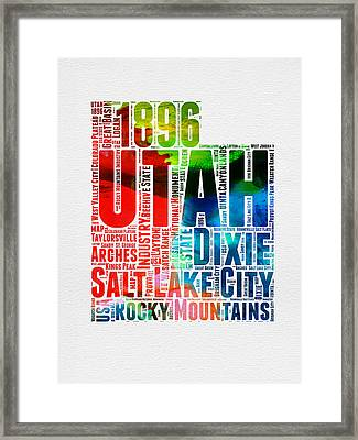 Utah Watercolor Word Cloud Map Framed Print by Naxart Studio