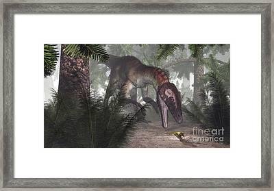 Utahraptor Dinosaur Hunting A Gecko Framed Print by Elena Duvernay