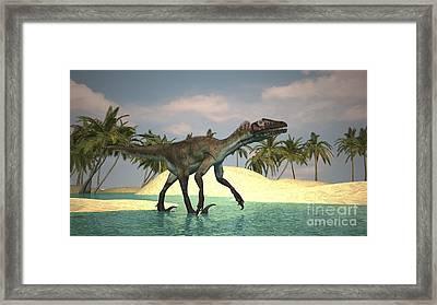 Utahraptor Walking Across A Riverbed Framed Print