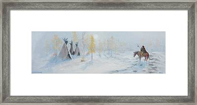 Ute Winter Camp Framed Print by Jerry McElroy