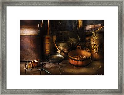 Utensils - Colonial Utensils Framed Print by Mike Savad