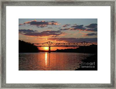 Utica Bridge At Sunset Framed Print