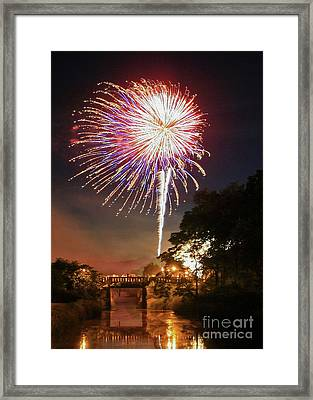 Framed Print featuring the photograph Utica Fireworks by Paula Guttilla
