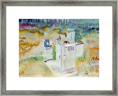 Utility Boxes Near A Forest Framed Print