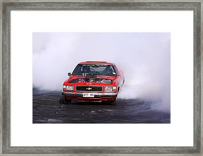 V8 Ute Doing A Burnout Framed Print by Stephen Athea