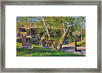 Va Country Roads - Humpback Covered Bridge Over Dunlap Creek No. 13a And Lovework - Alleghany County Framed Print by Michael Mazaika